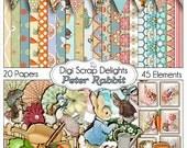 Peter Rabbit Digital Scrapbook Kit, Instant Download