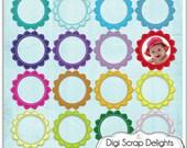 Digital Frames Pack 5 (Flower Frames Clip art for cards, design, scrapbooking - commercial use OK), Instant Download