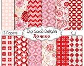 Digital Scrapbooking: Ranana Digital Scrapbook Paper - Pink, Red, Linen Textured. Instant Download