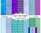 Turquoise Purple Chiffon DIgital Paper for Bible Journaling, Digital Scrapbooking, Card Making, Backgrounds, Radiant Orchid Crafts, Instant