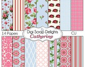 Shabby Chic Vintage Rose Papers Catherine (Cath Kidson, Style Digital Papers) for Digital Scrapbooking, Card Making, Instant Download