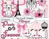 France Digital Clip Art  Element Pack (Pink, Black & French Poodles, Paris) Digital Scrapbooking: Instant Download