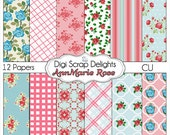 Digital Scrapbooking: Ann Marie - Vintage Rose Digital Papers (Cath Kidson, Shabby Chic Style), Instant Download