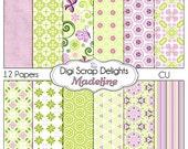 Purple & Green Scrapbook Paper: Madeline Digital Scrapbook Paper for Digital Scrapbooking, Photo Backgrounds, Card Making, Instant Download
