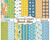Beach Digital Papers in Summer Orange & Aqua for Digital Scrapbooking, Crafts, Cards, Photographers, Instant Download