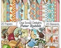 Peter Rabbit Digital Scrapbook Kit, Instant Download, Beatrice Potter Clip Art, Baby Showers, Invites, Birthday