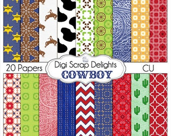Cowboy Digital Scrapbooking Papers or Background, Instant Download