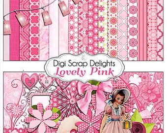 Digital Scrapbooking: Lovely Pink Scrapbook Kit in Shades of Pinks, Instant Download