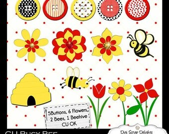 Instant Download  Busy Bee Digital Scrapbooking Elements Clip Art, Instant Download
