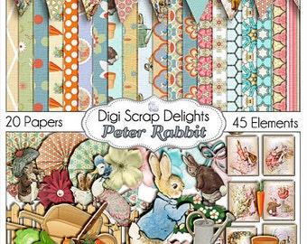 SALE! Peter Rabbit Digital Scrapbook Kit, Instant Download, Beatrice Potter Clip Art, Baby Showers, Invites, Birthday