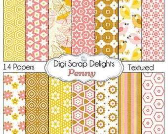 Penny Digital Papers Pack in pink, brown, gold card making, invitations, announcements, web design, etc)