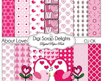Love Digital Scrapbook Paper in Pink and Red Pink w Bird Flower Clip Art for Scrapbooking, Invites, Cards, Crafts, Instant Download