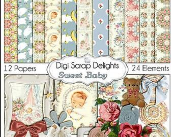 Vintage Baby Digital Scrapbook Kit:   Pink and Blue Vintage Roses, Instant Download