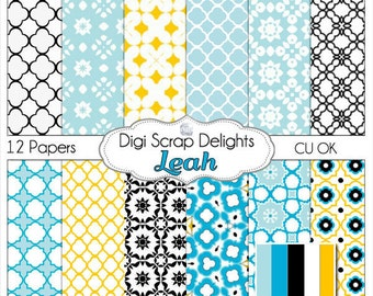 Digital Scrapbooking: Leah DIgital Scrapbook Paper (Blue & Yellow Gold Quatrefoil Patterns),  Instant Download