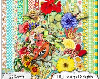 Digital Scrapbooking: Amaryllis Floral Scrapbook Kit, Instant Download