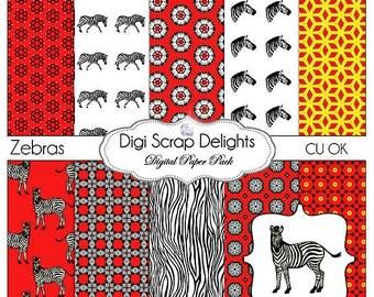 Digital Scrapbooking: Zebras Digital Scrapbook Paper in Red & Black, Instant Download