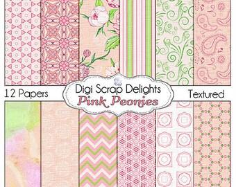 Pink Peonies Digital Scrapbook Paper: Pink and Green, Peony for digital scrapbooking, card making,  Instant Download