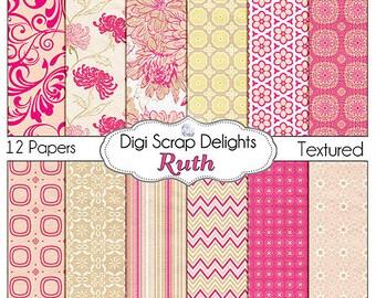 Pink Digital Papers: Ruth Scrapbook Paper for Digital Scrapbooking,Web Design, Card Making, Instant Download