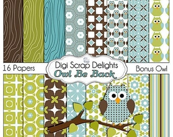 Owl Be Back Digital Scrapbooking  Scrapbook Paper (Blue, Green, Brown), Instant Download