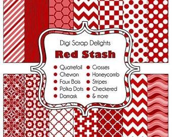 Red Stash Digital Scrapbook Papers Quatrefoil, Chevron, Polka Dots, Damask, Faux Bois, Checkerboard, Instant Download