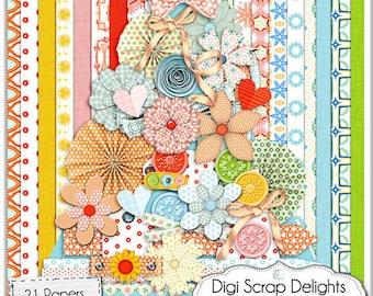Digital Scrapbooki Kit - Wonderful World  in  Red, Orange, Pink, Green. Digital Papers, Digital Clip Art, Bible journaling