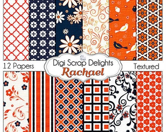 Navy Blue & Orange Scrapbook Paper: Rachael Digital Scrapbook Paper for Scrapbooking, Card Making, Crafts, Instant Download