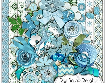 Digital Scrapbooking :Hummingbird Scrapbook Kit (Blue & Green), Instant Download