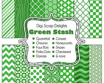 Green Stash Digital Scrapbook  Scrapbook Paper, Instant Download