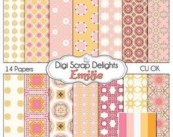 Pink & Gold Digital Papers Emilie  w Quatrefoil Digital Scrapbooking, Invites, Cards, Web Design, Instant Download