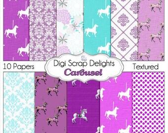 Carousel Horses Digital Papers, Purple and Aqua Digital Scrapbook Paper Instant Download