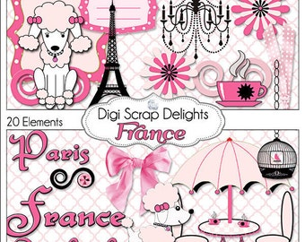 France Digital Clip Art  Element Pack (Pink, Black & French Poodles, Paris) Digital Scrapbooking: Instant Download