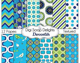 Devorah Aqua, Navy Blue & Green Digital Papers: Devorah Scrapbook Paper for Digital Scrapbooking, Crafts, Web Design, Instant Download