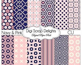 Navy & Pink Digital Scrapbook Paper , Instant Download