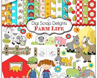 Digital Scrapbooking: Farm Scrapbook Kit (Farm Clip Art), Instant Download