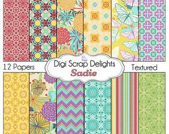 Digital Scrapbooking Papers: Sadie Scrapbook Paper,  Instant Download, Purple, Orange, Aqua
