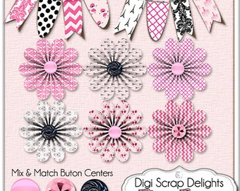 Pink & Black Bunting Banner and Accordion Flowers: France Add On Pack , Instant Download