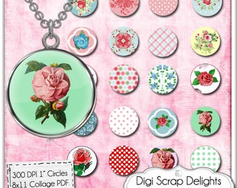 Vintage Roses Digital Collage Sheet  One Inch Circles, Cath Kidson Style for Pendants, Magnets,  & Scrapbook Elements, Instant Download