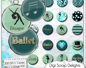 Dance Digital Collage Sheet One Inch Circles Instant Download for Pendants, Magnets, Charm Bracelets, Jewelry,  Turquoise