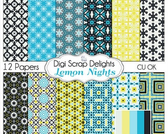 Lemon Nights Digital Scrapbook Paper Aqua,Yellow, & Black - Instant Download