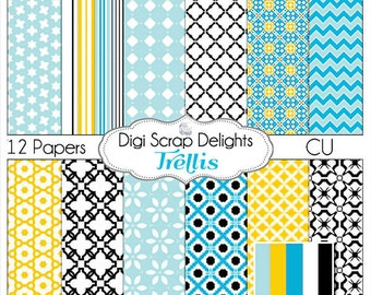 Trellis Digital Papers in Black, Blue, Yellow Gold w Chevron, Lattice & Quatrefoil - Digital Scrapbooking, Cards, Collage, Instant Download