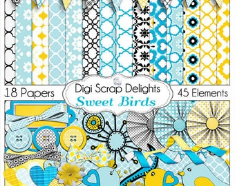 2 Dollar SALE! Sweet Birds Digital Scrapbook Kit in Blue and Yellow Gold w Quatrefoil Great for Bible journaling digitally !