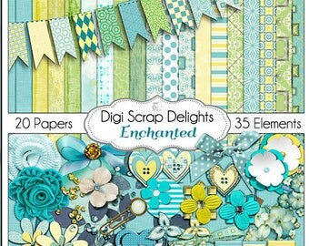 Digital Scrapbooking: Enchanted Digital Scrapbook Kit in Turquoise, Golds and Green, Instant Download