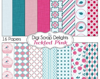 Turquoise, Pink & Aqua Digital Papers with Birds  Tickled Pink for Digital Scrapbooking, Card Making, Backgrounds, Instant Download