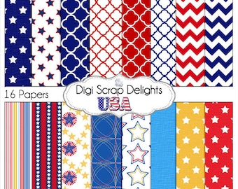 Red, White & Blue USA Digital Papers Instant Download, Card Making - Patriotic,  America,  July 4, Independence Day