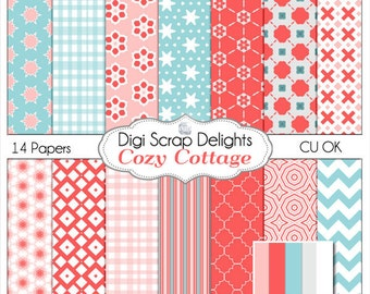 Cozy Cottage Scrapbook Paper for Digital Scrapbooking, Card making, Photographers, in Red, Pink and Aqua Blue, Instant Download