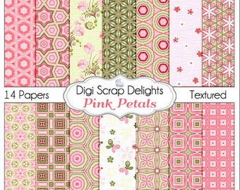 Pink Petals: Pink & Green Digital Papers Digital Scrapbook Paper for Scrapbooking, Card Making, Photo Backgrounds, Instant Download