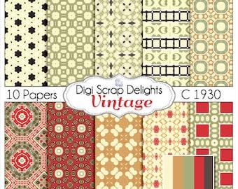 Vintage Scrapbook Paper 1930 in Red, Tan, Brown, Black - Digital Scrapbooking, Card Making, Instant Download