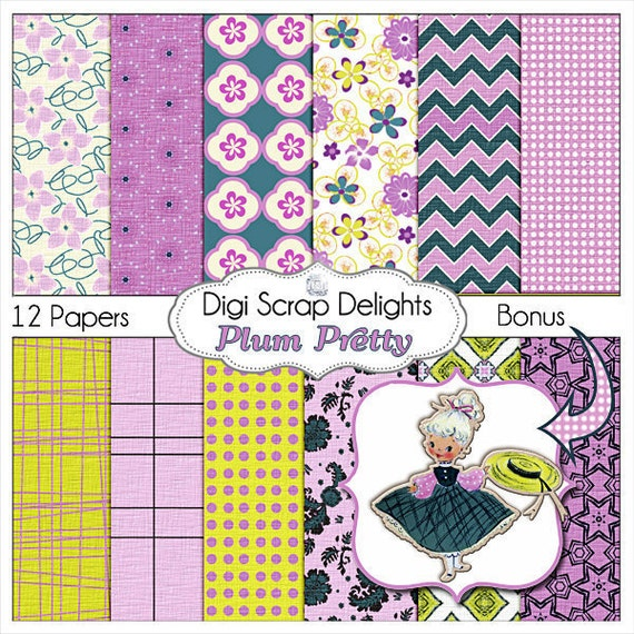 Radiant Orchid Scrapbook Paper w Vintage Girl Clip Art in Purple, Teal and Gold for Digital Scrapbooking, Instant Download