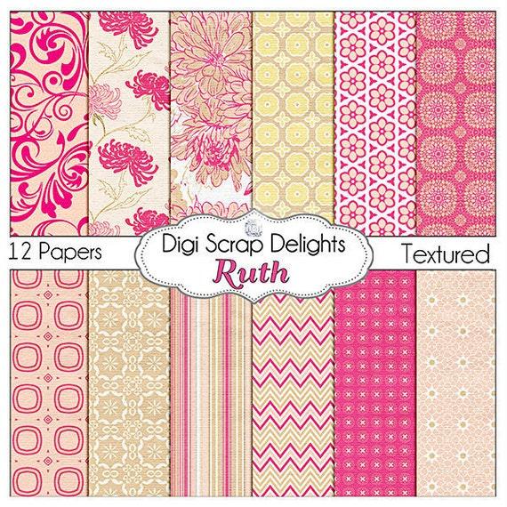 50% OFF - Pink Digital Papers: Ruth Scrapbook Paper for Digital Scrapbooking,Web Design, Card Making, Instant Download