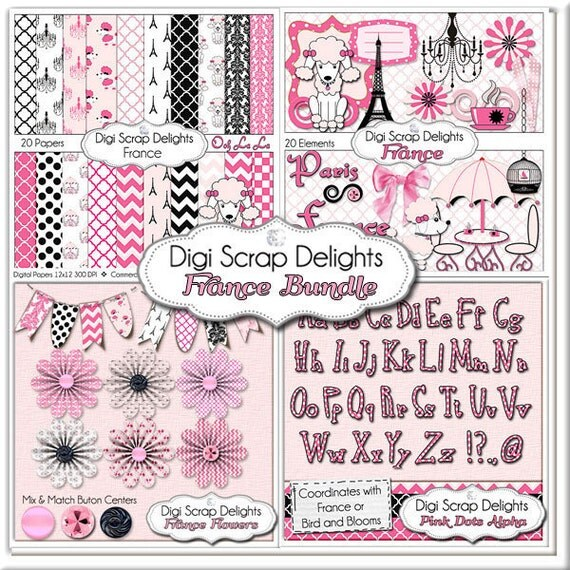 France Clip Art  Bundle Pack: Pink and  Black Papers, Poodles, Clip Art, Flowers, Bunting, Alpha For Personal, Instant Download